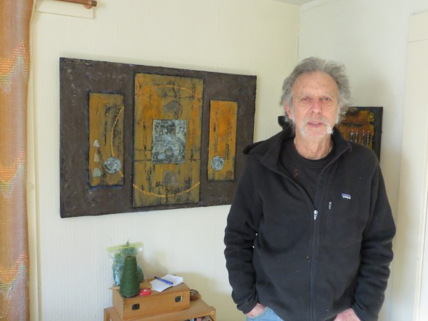 Stu Silverstein stands by one of his works of art at home in Waterville.