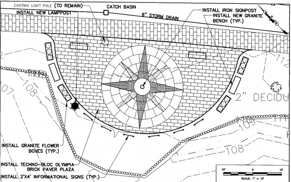 "The phrase ""Bucksport: Center of the Known Universe"" will be inscribed at the center of a compass rose more than 10 feet in diameter that will be laid next spring into a brickwork plaza at the western end of the town's waterfront walkway, according to Town Manager Michael Brennan. Around the compass will be granite benches, flower planters and informational signs describing the view of the Penobscot River and the Penobscot Narrows Bridge."