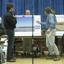 David Graham (left) of DCP Midstream debates in January 2012 the aesthetics of his company's proposed propane terminal project with Peter Taber (right) of Searsport.