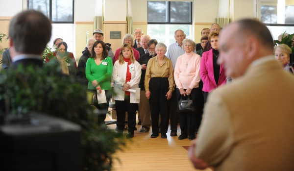 Staff and community members fill the new Mary Dow Center for Cancer Care for a ribbon cutting at the Maine Coast Memorial Hospital in Ellsworth on Sunday.