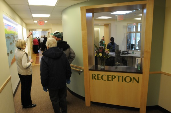 The reception area at the Mary Dow Center for Cancer Care as seen on Sunday during a ribbon cutting at the Maine Coast Memorial Hospital in Ellsworth.