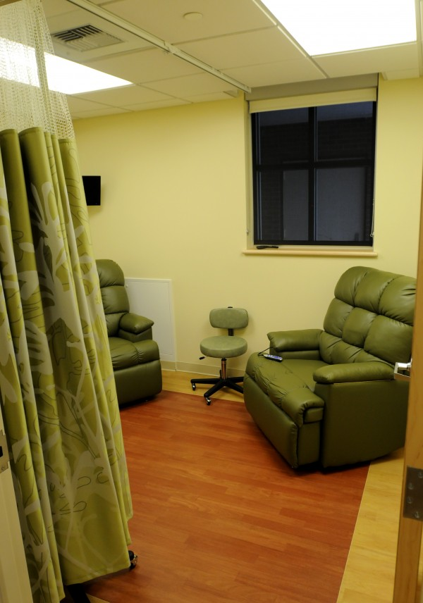 A private infusion room at the Mary Dow Center for Cancer Care as seen on Sunday during a ribbon cutting at the Maine Coast Memorial Hospital in Ellsworth.