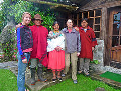 Lesley Fernow (second from right), and her daughter, Dana Frasz (left), are pictured with their host family in an Andes organic farm community in Ecuador on Feb. 11, 2011.