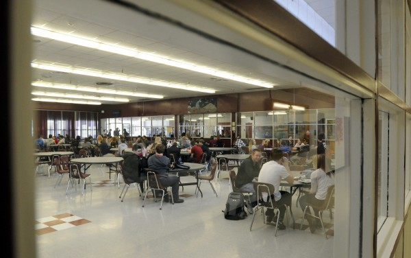 Students at Bangor High School have their lunch in the cafeteria on Thursday, Jan. 10, 2013.