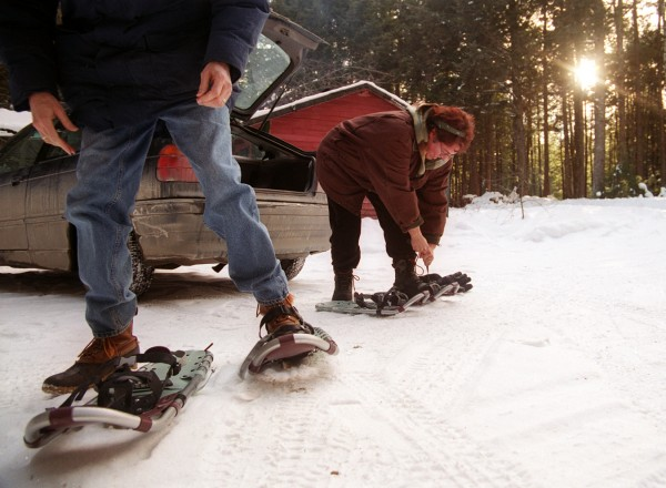 Pamela and Bryan Wells prepare to go snowshoeing in January 2003 in Sunkhaze Meadows National Wildlife Refuge.