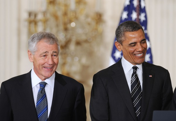 Former U.S. Senator Chuck Hagel, left, a Republican from Nebraska, is nominated to be Secretary of Defense by President Barack Obama at the White House on Monday, Jan. 7, 2013, in Washington, DC.