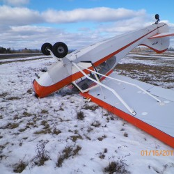 Small airplane flips over while taxiing at Newburgh airfield