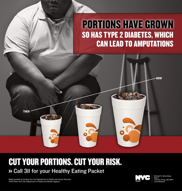 An advertisement to fight obesity created on behalf of the New York City Department of Health is shown in this undated handout. As Americans debate what is most to blame for the nation's obesity epidemic, researchers say they have the strongest evidence yet that sugary drinks play a leading role and that eliminating them would, more than any other single step, make a huge difference. Three studies published in Sept. 2012 in the New England Journal of Medicine represent the most rigorous effort yet to see if there is a link between sugar-sweetened beverages and expanding U.S. Waistlines.