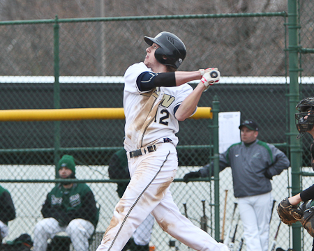 Billy Bissell of Gallaudet University watches the flight of the ball during an at-bat in a game in 2011. The former Brewer High School standout has been named an honorable mention preseason D3baseball.com All-American for the second straight year.