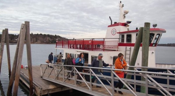 Passengers disembark from the Chebeague Island Ferry, Tuesday, Jan. 15, 2013, on Yarmouth's Cousins Island. Draft legislation would allow the Chebeague Transportation Co. to create a nonprofit public transit district.