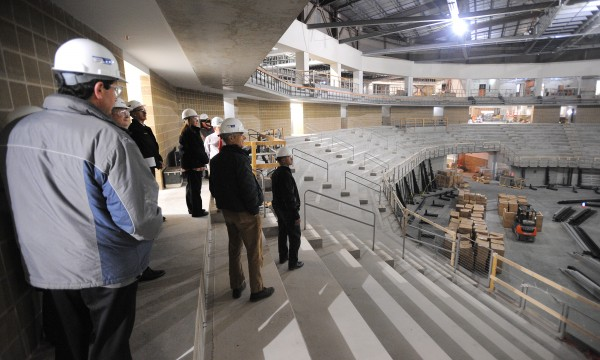Bangor City Councilors and other city officials toured the new Cross Insurance Center on Wednesday, Nov. 7, 2012, to get a sense of how the project is progressing. The University of Maine basketball program is looking into hosting home games at the CIC.