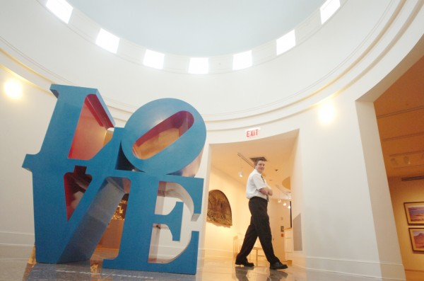 Security guard Adam Howlett strolls past Robert Indiana's &quotLove&quot sculpture at the Farnsworth Art Museum in Rockland in March 2009.