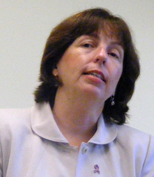 Anne Jordan, then-commissioner of the Maine Department of Public Safety, speaks on domestic violence prevention at a forum held at St. Andrews Hospital in Boothbay Harbor in 2008.