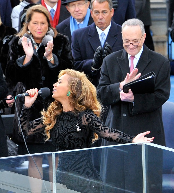 Beyonce performs the national anthem at the inauguration ceremonies at the U.S. Capitol, on Monday, Jan. 21, 2013.
