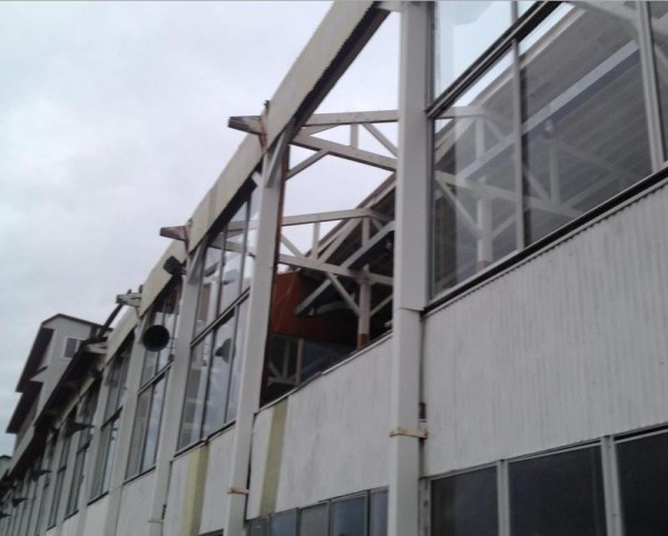 A 12-foot-square plate glass window at the Cumberland Fairgrounds grandstand was blown out Dec. 21, 2012, by a wind gust. Five sections of the roof were also torn off.