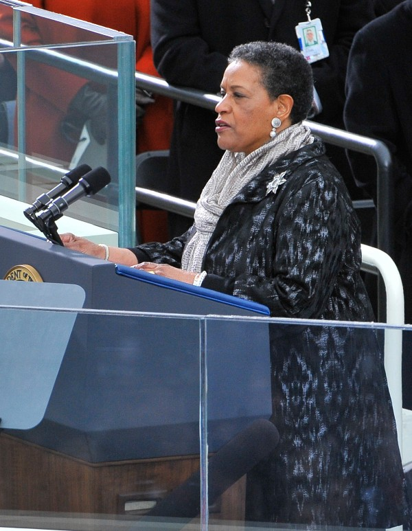 Myrlie Evers-Williams gives the invocation during the inauguration ceremonies for President Obama's second term at the Capitol in Washington, D.C., on Monday, Jan. 21, 2013.
