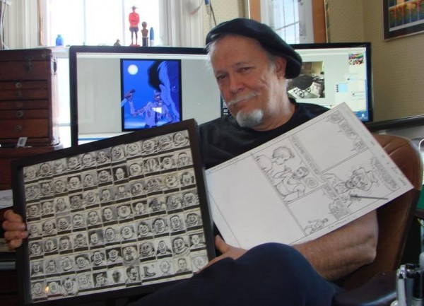Rick Parker, a longtime comics artist and letterer, shows off some of his work at his home in Falmouth recently. The framed drawings he did on matchbook covers, which sold for $3 each on street corners, are among his favorite pieces of work.