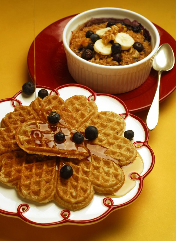 You can keep a New Year's resolution by eating healthy even when you have waffles. At least you can when you''ve packed them with toasted oatmeal, buttermilk and a hint of cinnamon.