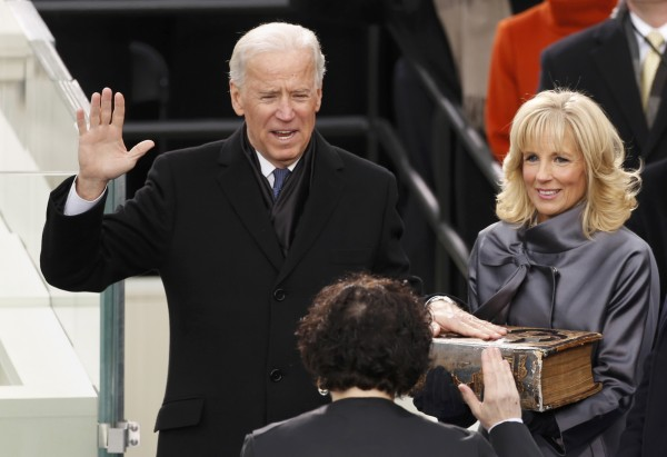 U.S. Vice President Joe Biden takes the oath of office from Supreme Court Justice Sonia Sotomayor as his wife, Jill, holds the family bible in Washington, D.C, on Monday, Jan. 21, 2013.