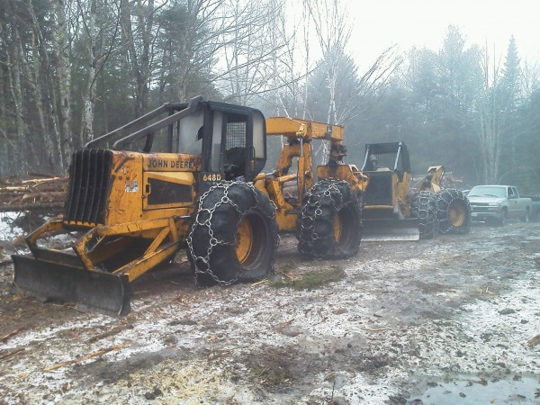 The Maine Forest Service said two privately owned skidders, pictured here, were vandalized recently at a logging site on Getaway Road in Blue Hill. District Ranger Courtney Hammond said the damage caused to the slashed tires could total $16,000.