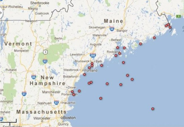 This maps shows the locations of fatalities in Maine's commercial fishing industry between 2000 and 2011, according to the NIOSH Commercial Fishing Incident Database.