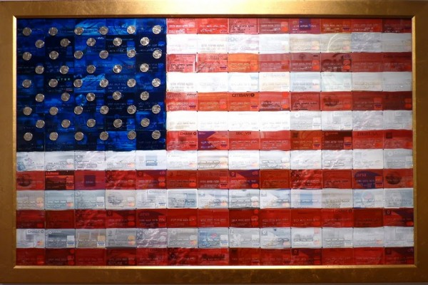 Artist Eric Leppanen made the &quotIndebted States of America&quot with some of the hundreds of credit cards he had signed up for during his long career in the credit card industry.
