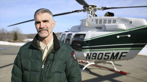 Lee Kantar, a wildlife biologist for the Maine Department of Inland Fisheries and Wildlife, performed a moose count by helicopter over Maine's Wildlife Management District 19 Tuesday morning.
