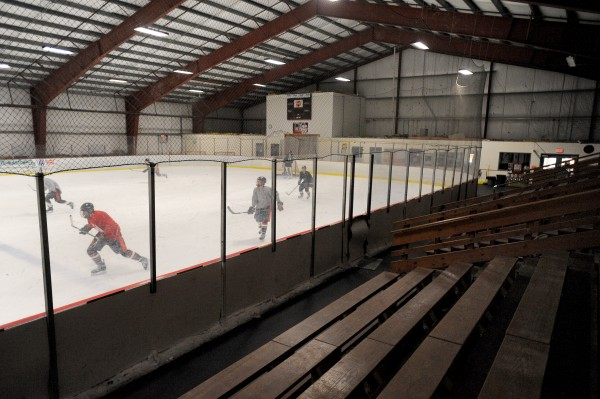 Hockey players skate at the Penobscot Ice Arena in Brewer in February 2012.