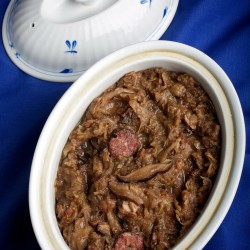 Slightly sour and spicy, Hunter's Stew is a hearty, beloved dish served at Polish family gatherings.
