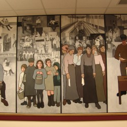 A portion of the Maine History Labor Mural, by Seal Cove artist Judy Taylor, as it appeared on the walls of the Department of Labor in Augusta before it was ordered removed by Gov. Paul LePage in March 2011.