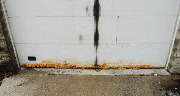 A combination of rust and spray foam insulation can be seen on the Zamboni entrance of the Penobscot Ice Arena on Thursday, Jan. 31, 2013.