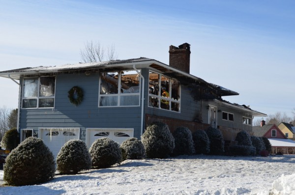 A fire destroyed a Mullen Road residence in Stetson during the early morning hours of Friday, Jan. 25, 2013. Everyone in the home made it out safely.