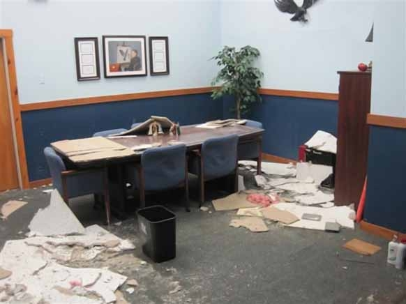 The Greater Houlton Christian Academy is still recovering from flood damage caused by a broken water pipe during Christmas vacation. One of the rooms affected was the head master's office, shown here.
