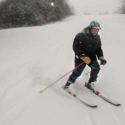 Ed Hendrickson of Brewer made several runs at the Hermon Mountain Ski Area on Wednesday. Hendrickson is 92-years-old and said he intends to ski as long as he is able.