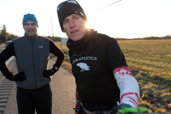 Gary Allen (right) is seen in Maryland during his run from Maine to Washington, D.C.