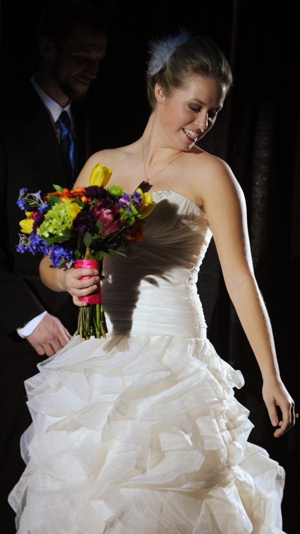 The latest in wedding attire is displayed by models during the Bangor Bridal Show and Wedding Expo at the Spectacular Event Center in Bangor on Sunday, Jan. 13, 2013.