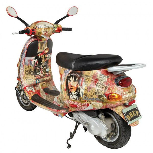 Artist Shepard Fairey created the decoupaged Vespa scooter that sold for $12,500 in a recent auction of street art at Doyle New York.