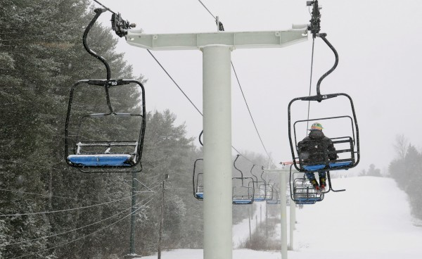 Ed Hendrickson of Brewer rides the chairlift at the Hermon Mountain Ski Area Wednesday. The 92-years-old Hendrickson skis nearly every day and he said he intends to ski as long as he is able.