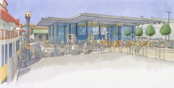 This architect's rendering shows what the Casco Bay Lines ferry terminal would look after proposed renovations are complete. The organization plans to expand the terminal from 3,000 to 6,000 feet and move the public waiting area closer to the waterfront.