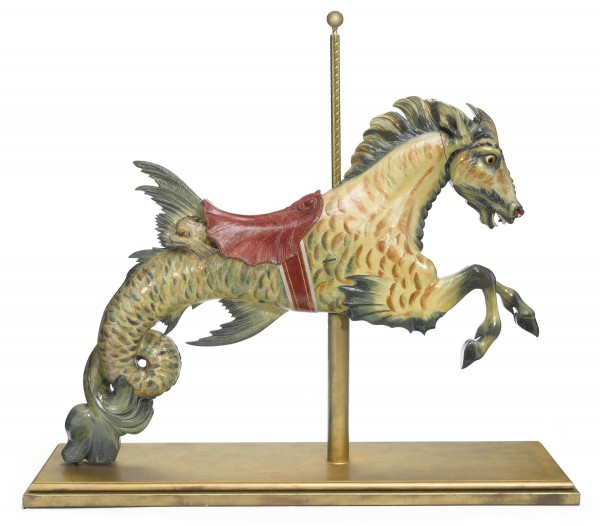 This carousel animal, a mythical hippocamp, was carved by Carl Muller. It sold for $50,000 last month at Bonhams Los Angeles.