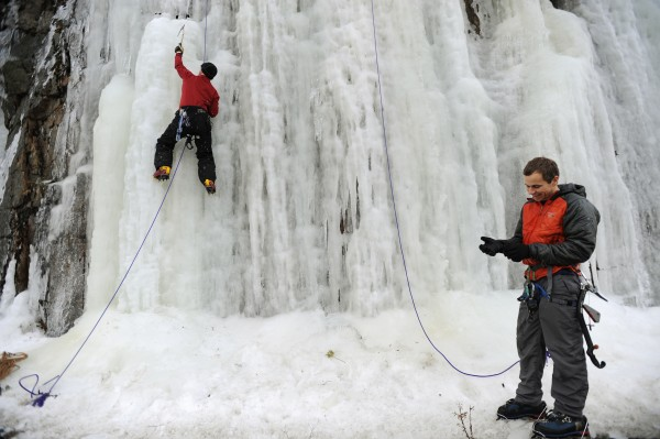 Ice climbers Cameron Morgan (left) of Southwest Harbor and Jeremy Schneider of Brewer practice their ice climbing techniques along Sargent Drive in Northeast Harbor on Saturday, Jan. 13, 2013.
