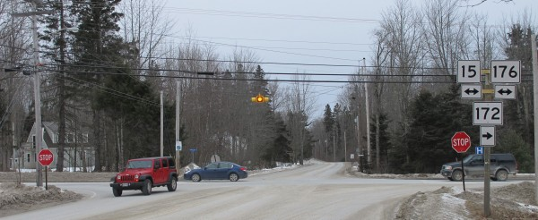 The four-way intersection of South Street, Tenney Hill Road, Beech Hill Road and Mines Road in Blue Hill will be replaced this year by a single-lane roundabout. An $842,000 contract for the job was awarded to R.F. Foster & Sons of Ellsworth on Jan. 18, 2013, and the job is expected to be completed in August.