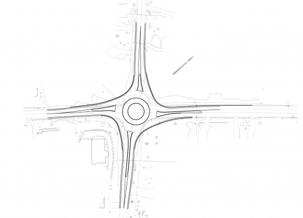 This sketch shows a &quottemplate&quot used in the design of the planned roundabout in Blue Hill, according to the Maine Department of Transportation.