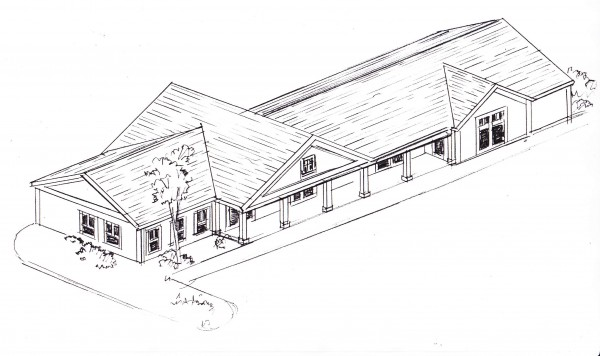 This rough sketch shows the proposed design for a new Dunkin Donuts franchise on South Street in Blue Hill. The building will also house two yet-unnamed business tenants, according to owner Chuck Lawrence, who also owns the Tradewinds Market across the street.