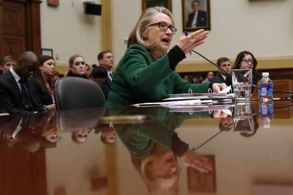 U.S.Secretary of State Hillary Clinton testifies on the September attack on U.S. diplomatic sites in Benghazi, Libya, during a hearing held by the House Foreign Affairs committee on Capitol Hill in Washington, on Wednesday, Jan. 23, 2013.
