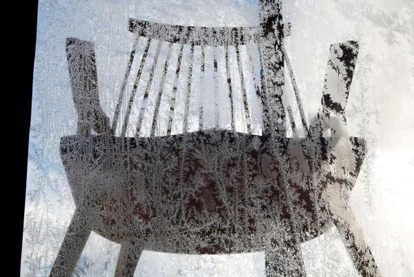 Frost covers a window of display for Thomas Moser furniture in Freeport on Wednesday, Jan. 2, 2013.