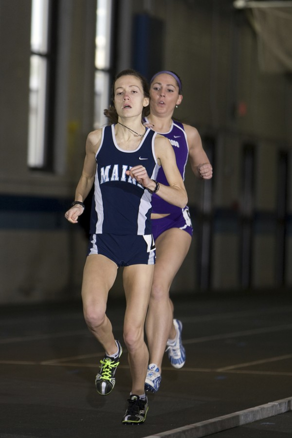 Maine running standout Corey Conner (front) is back on the track after contending with a foot injury during cross country season.