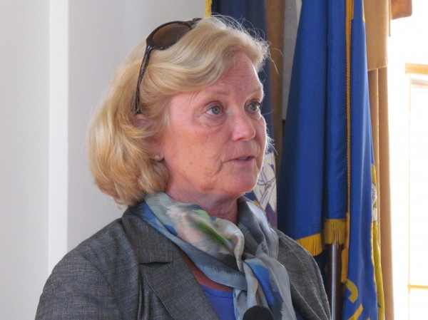 U.S. Rep. Chellie Pingree discusses the increase in frequency and intensity of rain and snow storms described in a new Environment Maine report Tuesday, July 31, 2012, during a news conference at Portland City Hall.