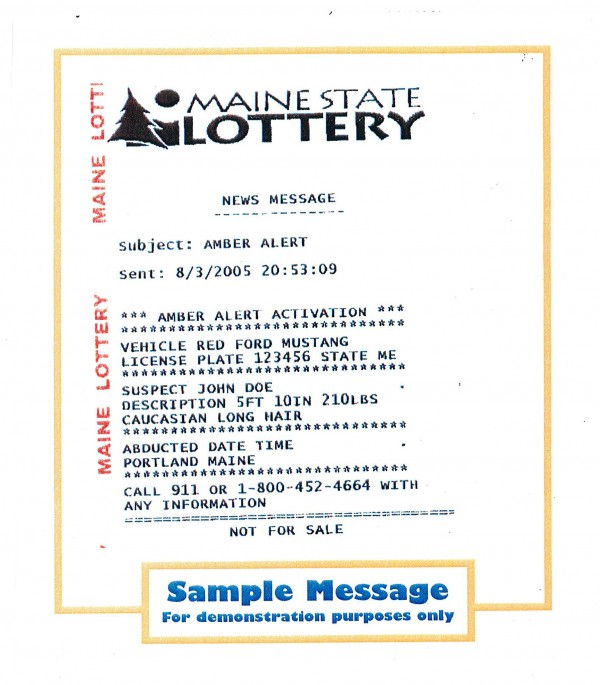Amber and Silver Alerts now appear on Maine State Lottery tickets.