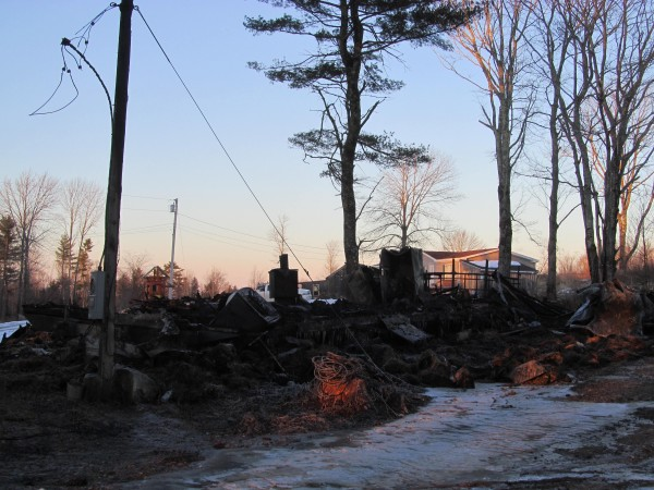 This mobile home at 23 Starter Drive in Nobleboro was completely destroyed by fire early Wednesday morning, January 23, 2012. A family of five who lived there lost almost everything they owned.